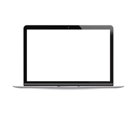 Ordinateur portable avec écran LCD blanc isolé sur fond. Illustration vectorielle réaliste d'ordinateur portable portable. Conception moderne de haute qualité.