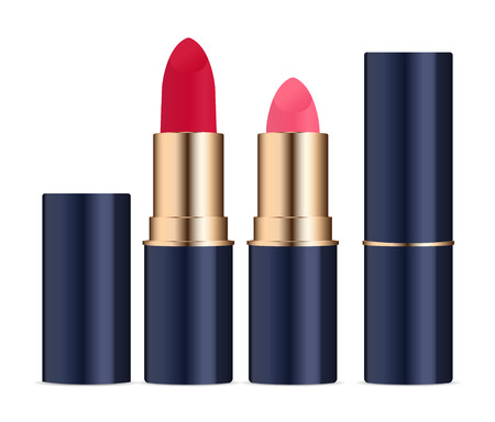 Lipstic cosmetics set with caps open and closed. High quality vector illustration. Stock Illustratie
