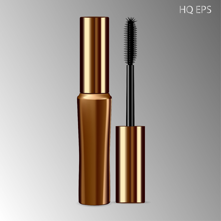 Mascara mockup gold package with eyelash applicator brush. 3D realistic cosmetic Vector Illustration. Eyeliner Design Promotion Product.