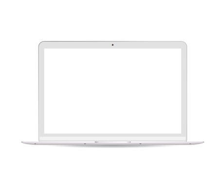 Portable notebook computer with white lcd screen. Realistic vector Laptop pc mockup illustration. High quality modern design. Ilustração