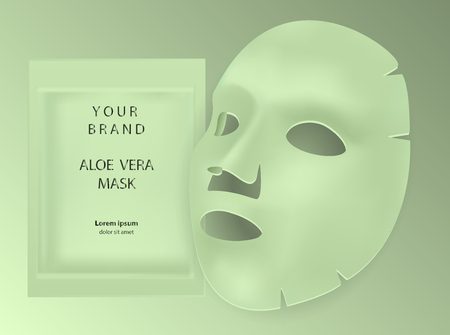 Aloe vera facial mask cosmetics ads. Package design for face mask isolated on grey background. Realistic vector illustration.