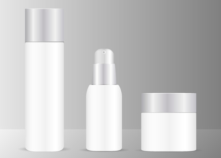 White cosmetics set with silver lids. Bottles for toner, serum and cream jar. Isolated vector illustration. EPS10 format.