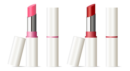 Trendy lipstick mock up set. Vector illustration. Sexy red and pink color. 3d Makeup cosmetic ads. Vektorové ilustrace