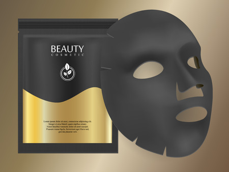 Black charcoal facial mask sheet with individual collagen sachet on gold gradient background. Skincare collagen hydration moisturizer. Face skincare premium ad design template. Vector beauty concept.