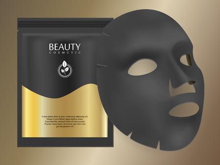 Feuille de masque facial au charbon noir avec sachet individuel de collagène sur fond dégradé doré. Hydratant hydratant au collagène pour les soins de la peau. Modèle de conception d'annonces premium pour les soins de la peau du visage. Concept de beauté de vecteur.
