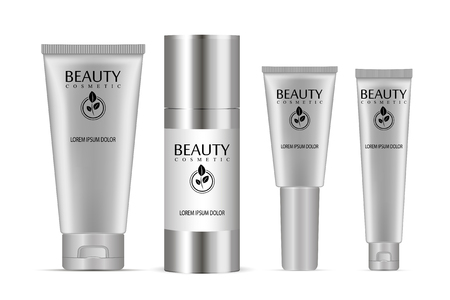 Cosmetic tubes set. Vector illustration of realistic packages of peeling gel, bb cream, ointment, base and other skin kare products.  イラスト・ベクター素材