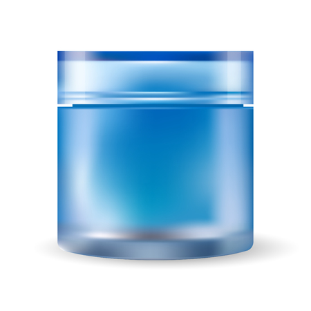 Blue glass cream jar isolated on white background. Cosmetic plastic bottle for cream, gel with lid. Beauty product package, HQ vector illustration.