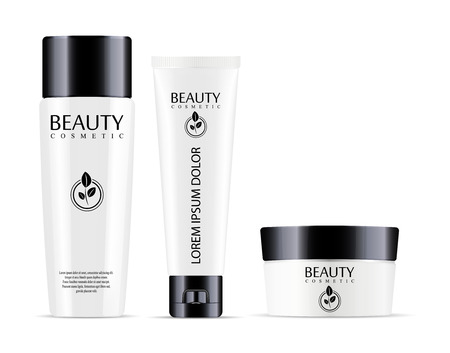 Cosmetic bottle for shampoo and jar with tube for cream, ointment, powder, salt. Realistic mockup package of cometics. Vector set with sample label design.