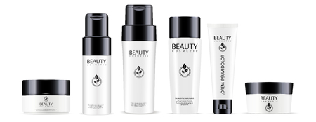 Big cosmetic products set: shampoo and conditioner bottles, cream jar and tube mockup with glossy black lids. Realistic vector illustration.