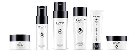 Grande set di prodotti cosmetici: flaconi per shampoo e balsamo, vasetto per crema e mockup di tubi con coperchi neri lucidi. Illustrazione vettoriale realistico. Vettoriali