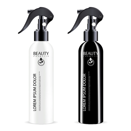 Black and White sprayer cosmetics bottle with black dispenser cap. Isolated container design with pump for liquid, water, oil, tonic and other cosmetic products. Vector mockup illustration.