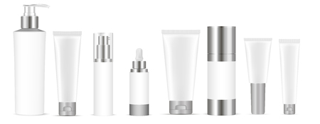 Set of white vector cosmetic bottle blank templates, plastic containers bottles with spray, dispenser and dropper, cream tube. Realistic 3d mock-up of cosmetics package.