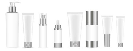Zestaw pustych szablonów butelek kosmetycznych biały wektor, plastikowe pojemniki butelki z sprayem, dozownikiem i zakraplaczem, rurka do kremu. Realistyczna makieta 3d pakietu kosmetyków.
