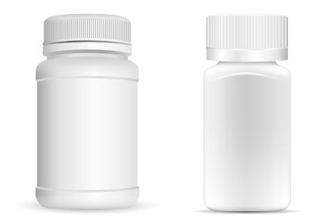 Butelki na tabletki. Biały okrągły i kwadratowy pojemnik medyczny na leki, dietę, suplementy diety. Ilustracja wektorowa na białym tle. Ilustracje wektorowe
