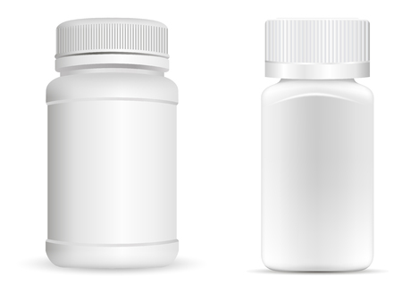 Pills bottles. White round and square medical container for drugs, diet, nutritional supplements. Vector illustration isolated on white background.