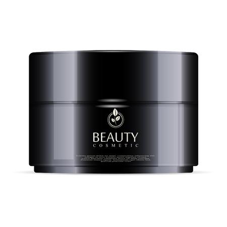 Round black plastic jar with black glossy lid for cosmetics - body cream, gel, butter, bath salt, skin care, powder. Realistic packaging mockup template. Vector illustration. Vecteurs
