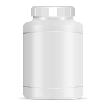 Grande nutrizione sportiva può illustrazione vettoriale. Bottiglia di proteine con coperchio bianco. Vaso bianco isolato su sfondo. Contenitore in polvere alimentare per palestra atletica per muscoli, fitness e allenamento. Pacchetto Dieta. Vettoriali