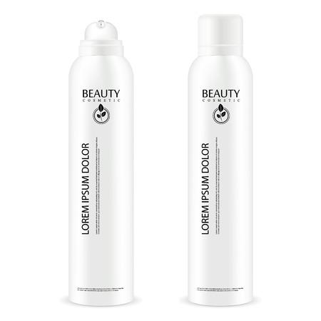 Flacon aérosol en métal avec couvercle. Le déodorant anti-transpirant ou la laque cosmétique peut modeler. Illustration de paquet de vecteur isolé sur fond blanc.