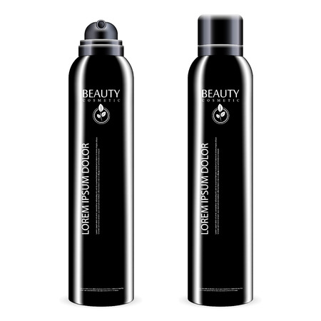 Black Aerosol spray metal bottle with lid. Deodorant antiperspirant or cosmetic hairspray can template. Vector package illustration isolated on white background. Vektorové ilustrace