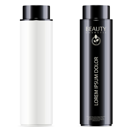 Black and white cosmetic bottles set for facial toner, hair shampoo or shower gel. Vector design template. Cosmetics packaging mockup. Realistic 3d illustration.