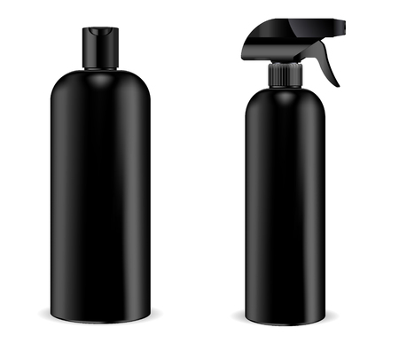 Black pistol sprayer bottle with black dispenser cap and black shampoo bottle joined in set. Isolated containers design with pump dispenser for liquid, water, oil, tonic and other cosmetic products. Vector mockup illustration.