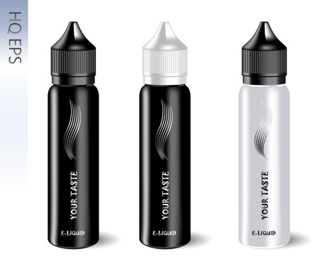 Vape e liquid bottles set with label and simple style. Vape jars in black and white color of caps and bodys. High quality EPS10 illustration design.