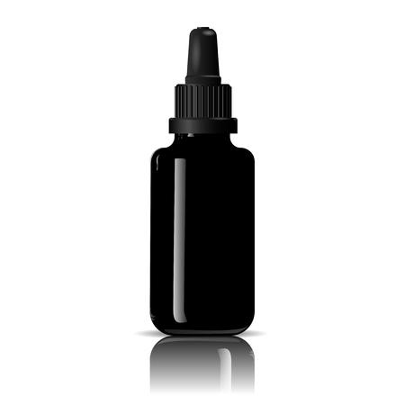 Frasco gotero para productos médicos, vape e líquido, aceite, suero y esencia. Maqueta de botella cosmética de vidrio negro. Ilustración de vector de eps10 de alta calidad.
