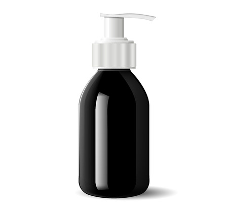 Pharmacy pump dispenser bottle for medical products, liquid, oil, serum and essence. Black glass cosmetic bottle mockup for soap, gel, base. High quality eps10 vector illustration.