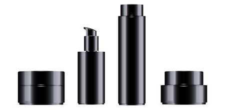 Glossy black cosmetic bottle for facial toner, hair shampoo or shower gel and cream jar set. Vector design template. Cosmetics packaging mockup. Realistic 3d illustration.