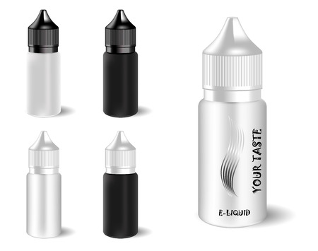 Vape e liquid juice bottles set with label and simple style. Vape jars in black and white color of caps and bodys. High quality EPS10 illustration design.