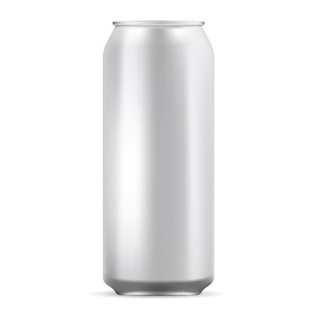 Lattina di alluminio mockup illustrazione. Lattina metallica realistica per birra, soda, limonata, succo, bevanda energetica. EPS10 Modello vettoriale per il tuo design.