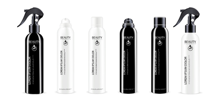 Black and White spray bottle cosmetics package with different color dispenser cap. Isolated container design with pump for liquid, water, oil, tonic and other cosmetic products. Vector mockup illustration.