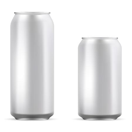 Aluminiumdosen stellen Mockup-Darstellung ein. Realistische Metalldose für Bier, Limonade, Limonade, Saft, Energy Drink. EPS10 Vektorvorlage für Ihr Design.