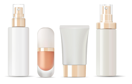 Botellas de vidrio brillante con juego de maquetas de tapas doradas. Ilustración vectorial plantillas en blanco de frascos de vidrio limpios vacíos: botellas con spray, frasco base, loción, tubo de crema.