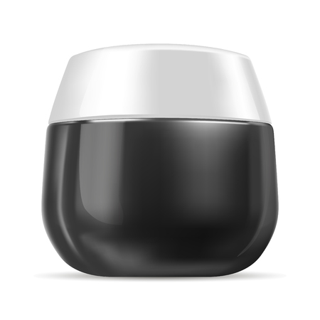 Black and white glossy plastic cream jar isolated on white background. Skin care product realistic cosmetic package. Vector mockup bottle illustration. Ilustrace