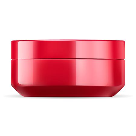 Modello di mockup del barattolo di crema cosmetica rosso lucido. Confezione di cosmetici in vetro o plastica con coperchio. Contenitore vuoto per crema, sale, unguento, gel, burro, cura della pelle, polvere. Illustrazione vettoriale. Vettoriali