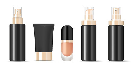 Black Glossy glass bottles with gold lids mockup set. Vector illustration blank templates of empty clean glass jars: bottles with spray, base jar, lotion, cream tube.