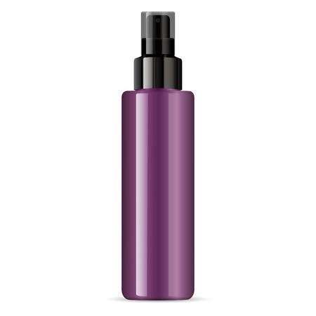 Bouteille en plastique ou en verre brillant cosmétique violet avec pompe de pulvérisation noire. Pulvérisateur Récipient liquide pour gel, lotion, crème, sérum, base. Paquet de produits cosmétiques de beauté. Illustration vectorielle. Vecteurs