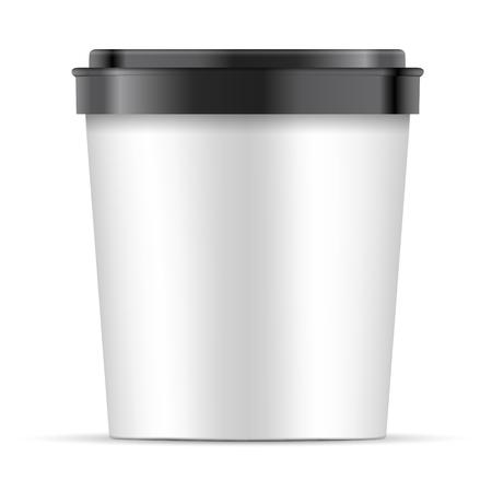 Carta bianca aperta o bicchiere di plastica con coperchio nero per dessert, yogurt, gelato, panna acida o snack. Vasca Contenitore Per Alimenti Illustrazione Isolato Su Sfondo Bianco. Modello mock up pronto per il tuo design. vettore eps10 Vettoriali