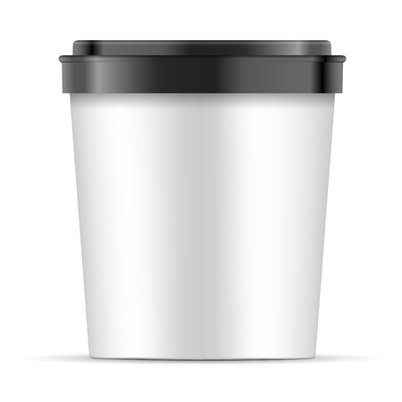 Open white Paper or Plastic Cup with black lid For Dessert, Yogurt, Ice Cream, Sour cream Or Snack. Tub Food Container Illustration Isolated On White Background. Mock Up Template Ready For Your Design. Vector EPS10