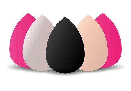 Beauty Sponge Makeup Blender different color set for Powder, Concealer and Foundation Applicator. Make Up Sponge in black, white, pink colors for Cosmetic Blending. Vector illustration mockup. Vettoriali