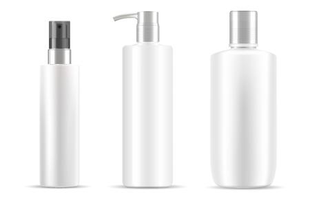 Three cosmetic bottles set in white color. Clean design easy to use. Different type of Jars with silver plastic caps. Dispenser pump, spray lids. Eps vector easy to modify color and put your label in it. Vettoriali