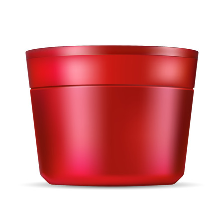 Cosmetic jar mockup for cream, ointment, powder and other products. Photo realistic red packaging template with red lid. Front view. Vector 3d illustration.
