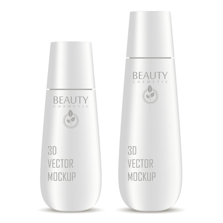 Cosmetic bottles mockup set for shampoo, moisturizer, conditioner or shower gel. Silver plastic realistic vector 3d illustration of cosmetics package with lid. Clear blank template for your design.