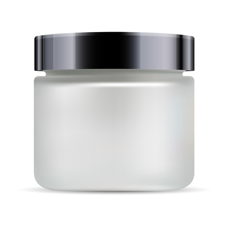 Round white matt glass jar with black glossy plastic lid for cosmetics - body cream, butter, scrub, bath salt, gel, skin care, powder. Realistic 3d packaging mockup template.