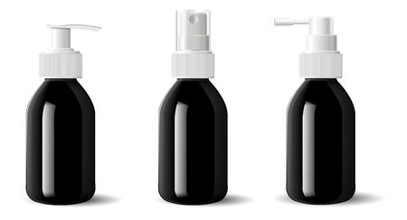 Realistico nero lucido in vetro o plastica Contenitore per pompa spray dispenser per flaconi cosmetici. Modello di mockup per crema, zuppe e altri cosmetici o prodotti medici. Illustrazione vettoriale.