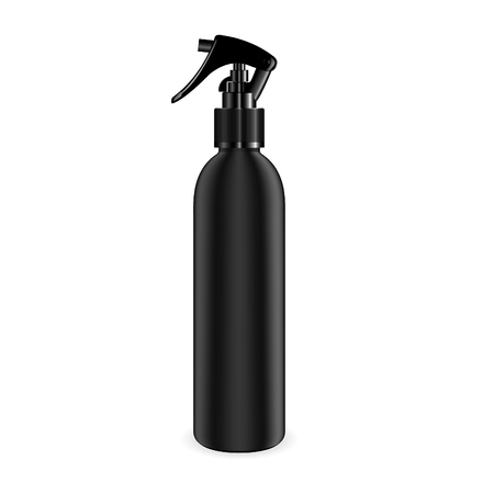 Spray bottle for cosmetic and other products. Isolated black blank container mockup with black dispenser head. Realistic vector template.