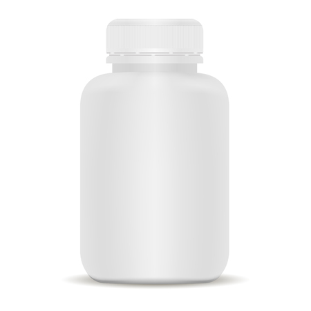 Plastic drug bottle. White 3d Vector illustration. Mockup Template of medical package for pills, capsule, drugs. Sports and health life supplements.
