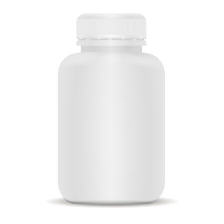 Plastikowa butelka leku. Biały 3d ilustracji wektorowych. Makieta szablon pakietu medycznego na tabletki, kapsułki, leki. Suplementy sportowe i zdrowotne.