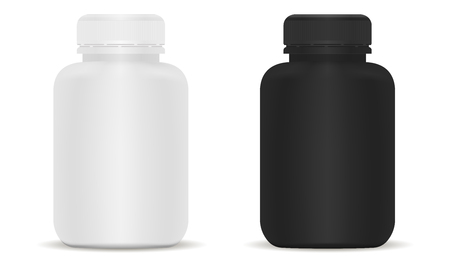 Medical bottles set. Black and White 3d Vector illustration. Mockup Template of medical package for pills, capsule, drugs. Sports and health life supplements.